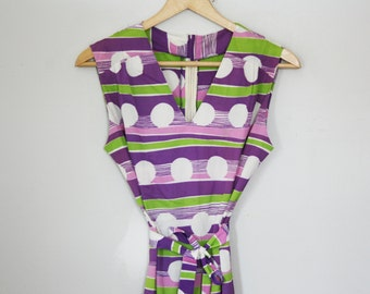 vintage 70s Ladies Belted Tunic Top Polka Dot Stripes Lime Green Purple Rose Pink Blouse- M L