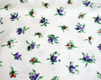 vintage 50s Tiny Purple Rosebud Floral Calico Cotton Quilting Fabric 35W 2 Yards