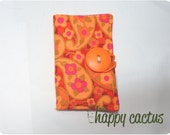 Bright Yellow and Pink Paisley Folded Wallet with Orange Button