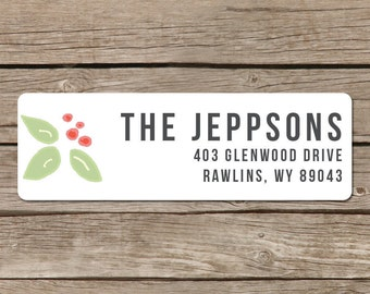 Return Address Label Stickers - Self Adhesive - Holly Blossom - Hand Drawn