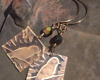 Raven Vintaj Brass Embossed Earrings  hand forged