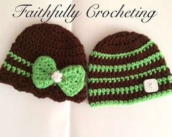 Newborn twin hats... Photography prop.. Ready to ship