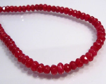 10 Beads.... Red Jade Faceted Rondelle Gemstone Beads.....5mm...BB
