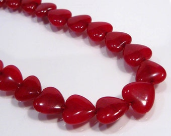 4 Beads....Ruby Red Jade Puffed Heart Gemstone Beads....12x12mm....BB