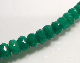 Christmas Green Jade Faceted Rondelle Gemstone Beads...10 Beads....6mm