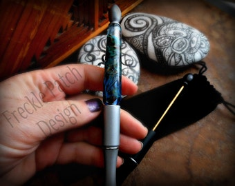 Lampwork Memorial Cremation Glass Writing Pen,  Gift for Him, Made to Order, Pet Ashes/ cremains