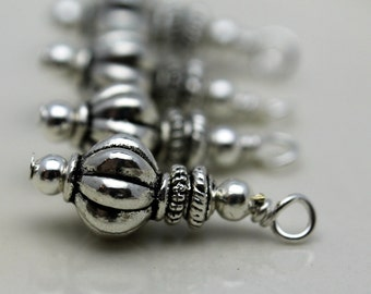 Bead Drop Dangle Charm Set in Silver Ribbed Melon Beads - 4 Piece