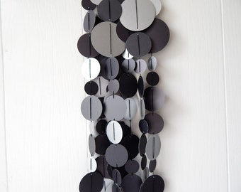 New Years Decor / Black Silver Circle Garland / Over The Hill Garland / Photo Prop