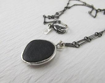 Lake Michigan silver bezel set black beach stone & gunmetal chain necklace