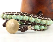 Brown Wrap Bracelet Mint Green Boho Wrap Bracelet Summer Beach Fashion Hippie Wrap Bracelet Earth Sage Wrap Leather Jewelry Bohemian Jewelry