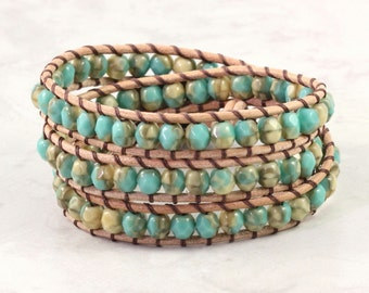 Summer Fashion Cream Gypsy Wrap Bracelet Aqua Wrap Bracelet Beach Jewelry 3x Wrap Boho Jewelry Suede Leather Jewelry Turquoise Bracelet