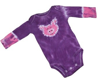 Tie Dye Bodysuit in Purple with a Hot Pink Pig