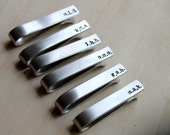 Free shipping. Hand Stamped Tie Clip Bar. Silver Aluminum. Personalized - Groomsman. Fathers Gift