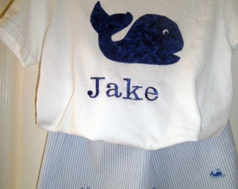 Boys Whale Seersucker Shorts Set, White Applique Tee, Blue,Twins, Summer, Sizes Newborn-6