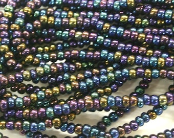 Jet AB 8/0 Czech Seed Beads,Twelve 20 Inch Strands
