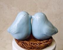 Celadon Blue Kissing Love Bird Cake Topper