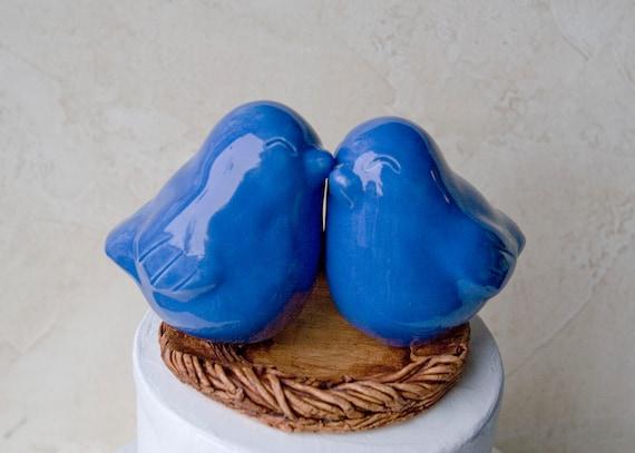 Cornflower Blue Love Bird Wedding Cake Topper