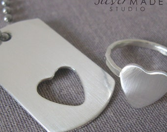 Dogtag KEYCHAIN and sterling heart ring NO TEXT