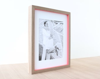 picture frames in Walnut + Pop of Color style (passion pink) . 11x14 handmade picture frame