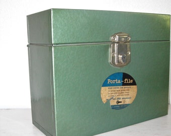 green metal file box - industrial porta-file with original label - shabby cottage chic - mid century retro office supply