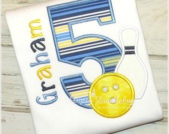 Custom Bowling Birthday Shirt- Boys Bowling Shirt- Girls Bowling Shirt- Bowling Birthday Party- Personalized Birthday Shirt
