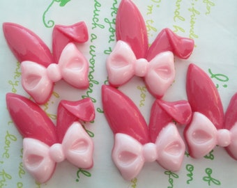 Bunny ear with bow cabochon 2pcs 40mm x 35mm Dark Pink