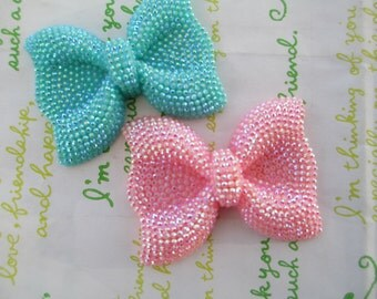sale NEW item Large sparkly Bow 2pcs Teal and Pink  52mm x 41mm