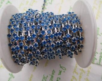 Clear Royal Blue rhinestone chain ( silver tone ) 3mm stone 50cm
