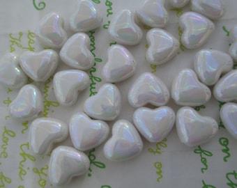 Small Puffy Heart BEADS 20pcs AB White