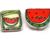 2 Washable ceramic buttons, Watermelon & seed packet, Summertime fun.