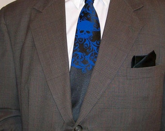 5 Mens microfiber neckties, Distressed skull design - custom colors available