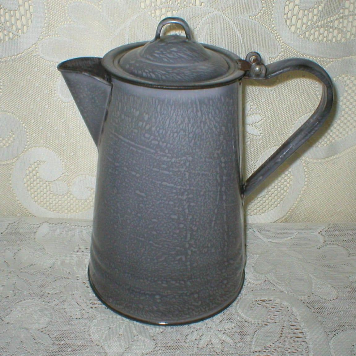 Antique Enamelware Coffee Pot Gray Graniteware Enamel Vintage