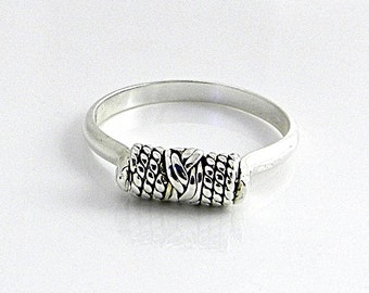 Sterling Silver Wire Sculpted Cold Connection Riveted Ring