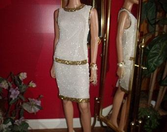 Vintage  Upcycled Wedding Dress Bridal  Art Deco  off  White Silk Beaded Gold Bronze