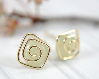 New jade post earrings spiral 14k gold filled pale green gemstone