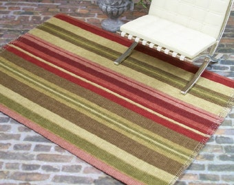 Maroon Green Rose Rug Carpet Striped 1:12 Dollhouse Miniature Artisan