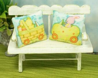 Easter Pillows Yellow Blue Bunnies Chicks 1:12 Dollhouse Miniatures Artisan