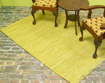 Green Yellow Rug Carpet 1:12 Dollhouse Miniatures Inch Scale Artisan