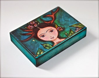 Frida Deer  - Giclee print mounted on Wood (5 x 7 inches) Folk Art  by FLOR LARIOS