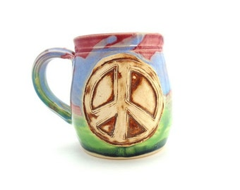 Handmade Pottery  Mug  ceramics and pottery  Peace Sign  rainbow colors  by  Jewel Pottery