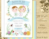 Bug Party double or twin Invitation 25 5x7 press printed cards