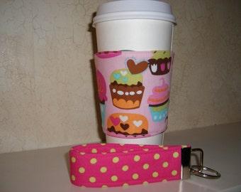 Gift Set . Fabric Coffee Cozy . Reversible . Wristlet . Cupcakes - Polkadots