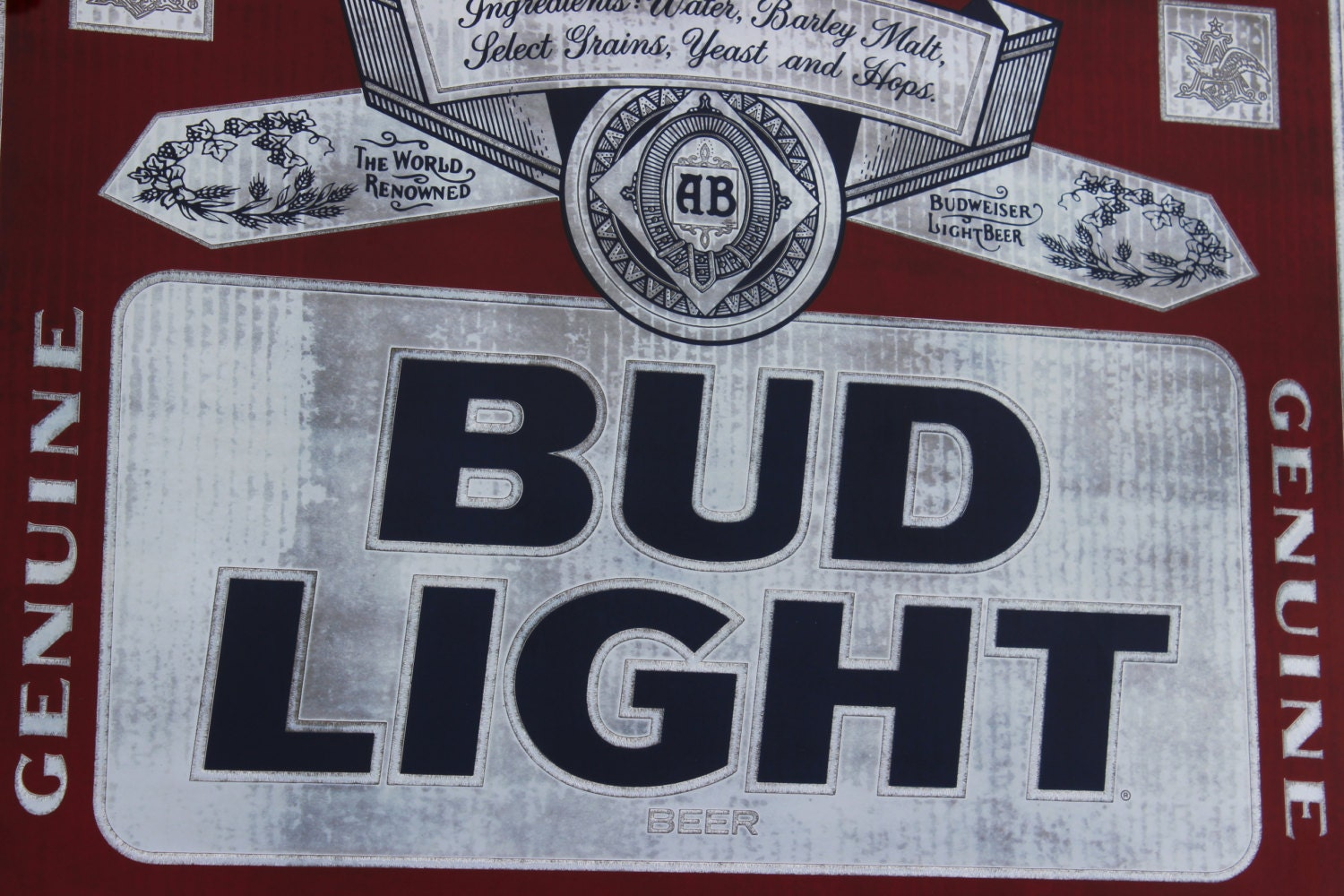 Vintage Bud Light Mirror Framed Bar Sign Or Large Tray Wall