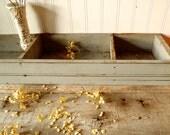 Vintage Primitive Wood Gray Blue Divided Nail  Bin Box Shelf Tray