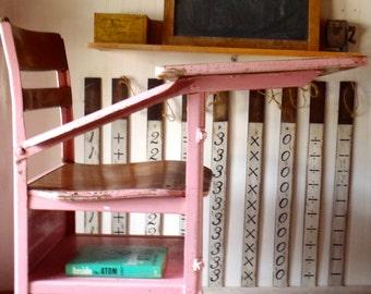 Vintage Industrial Modern Pink Metal and Maple Wood Student Desk