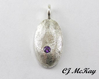 Custom Finger Print Pendant With A Birthstone Sterling Silver CK10