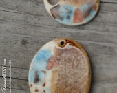 Handmade Pottery Beads 2 piece set in Mocha Mint and Rare Earth