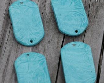 Aquamarine Pottery Bracelet Bead, The Carmine Bead