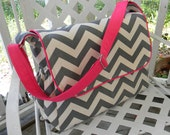 Charcoal  Chevron  Diaper Bag Messenger Style