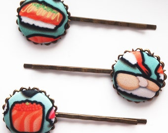 Sushi Time Bobby Pin Set of Three - Cute Kitsch Funny Food